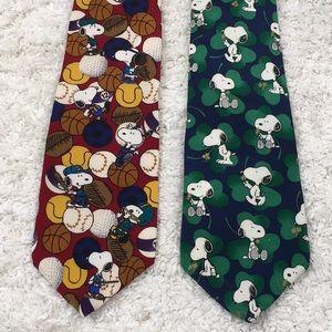 Peanuts Snoopy (2) silk ties vintage